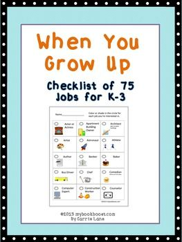 """Checklist and writing responses for """"What do you want to be when you grow up?"""""""