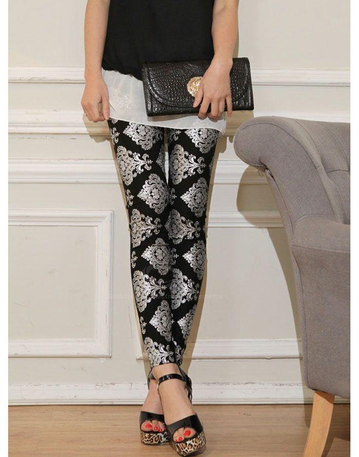 Glamour Slim Fit Retro Style Printing Leggings For Women (BLACK,ONE SIZE) | Vintage Leggings