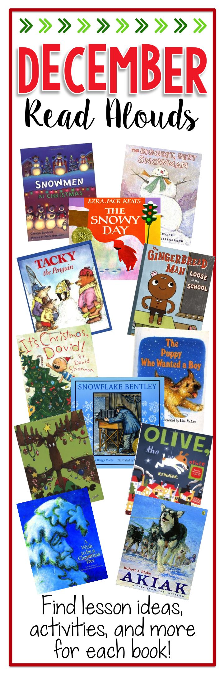 December Read Alouds - Lesson ideas, crafts, and freebies for 12 great read alouds to use in December!