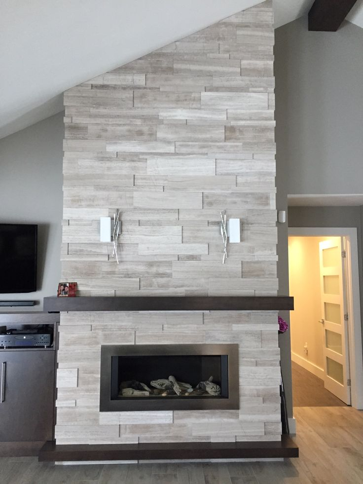 New Fireplace Install By Dominion Tile Ft Erthcoverings Large Format Silver Fox Strips