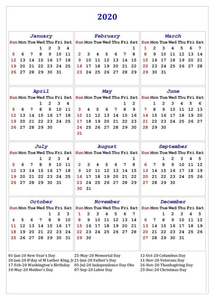 2020 One Page Holidays Portrait Calendar Calendar