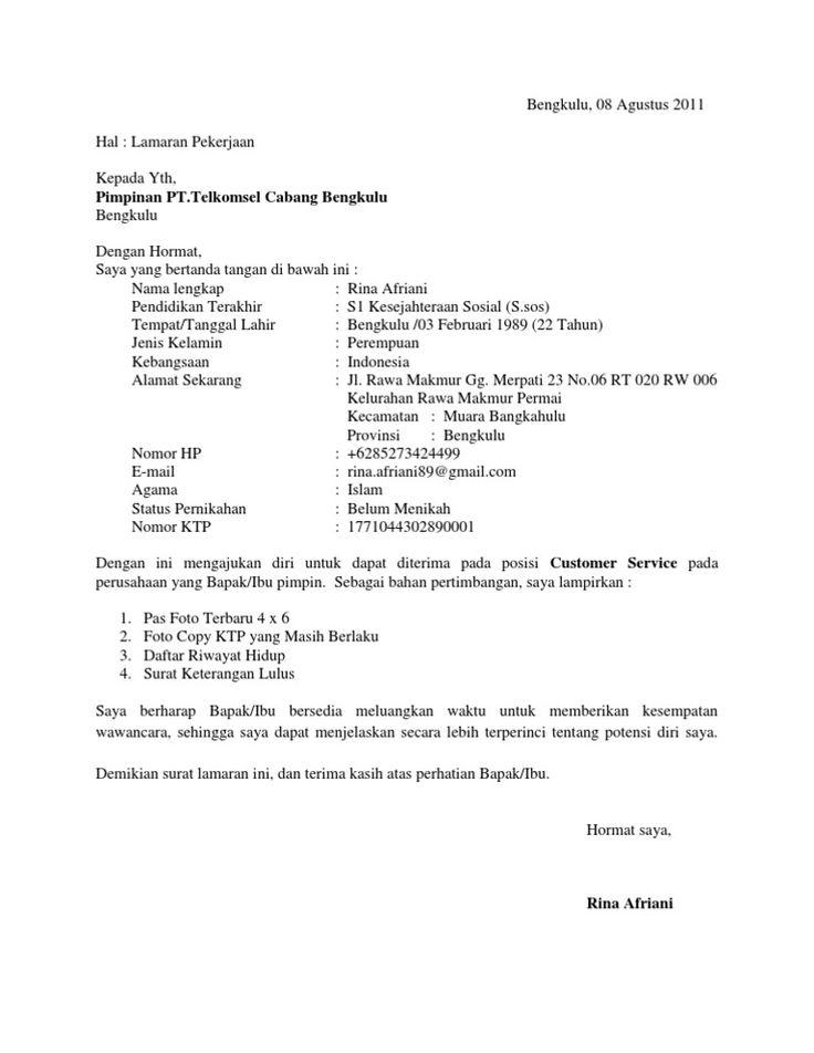 Contoh Surat Lamaran Kerja Pt Bahana Pui Persero 2018