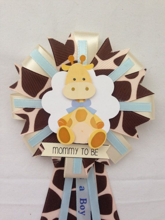 Mommy to be ribbon corsage baby boy giraffe