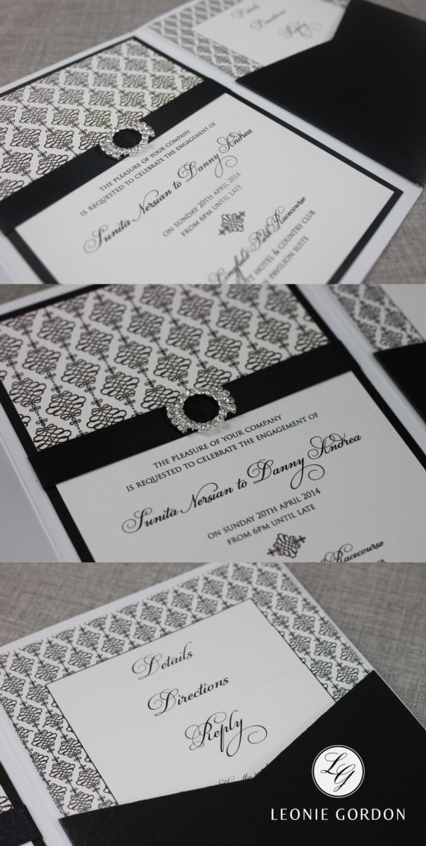 sample wedding invitation letter for uk visa%0A LeonieGordonLondonLuxuryBespokeBlackandWhite    Pocketfold Wedding  InvitationsInvitesSpecial