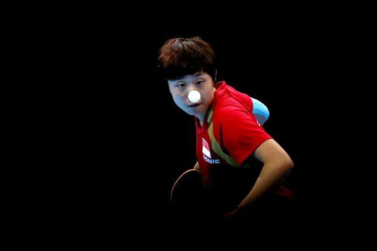 Ping-Pong-Nase: Tianwei Feng aus Singapur. Mit ihrem Team kämpfte sie im...