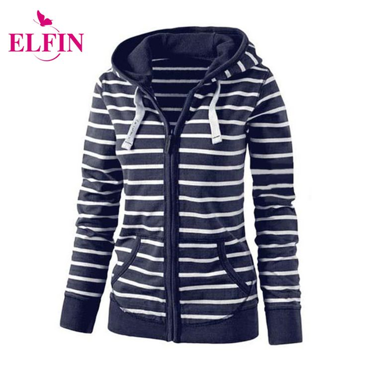 Women'S Fashion Hooded Stripes Casual Zipper Hoodies Pocket Women Sweatshirt Plus Size S-5XL LJ7847R
