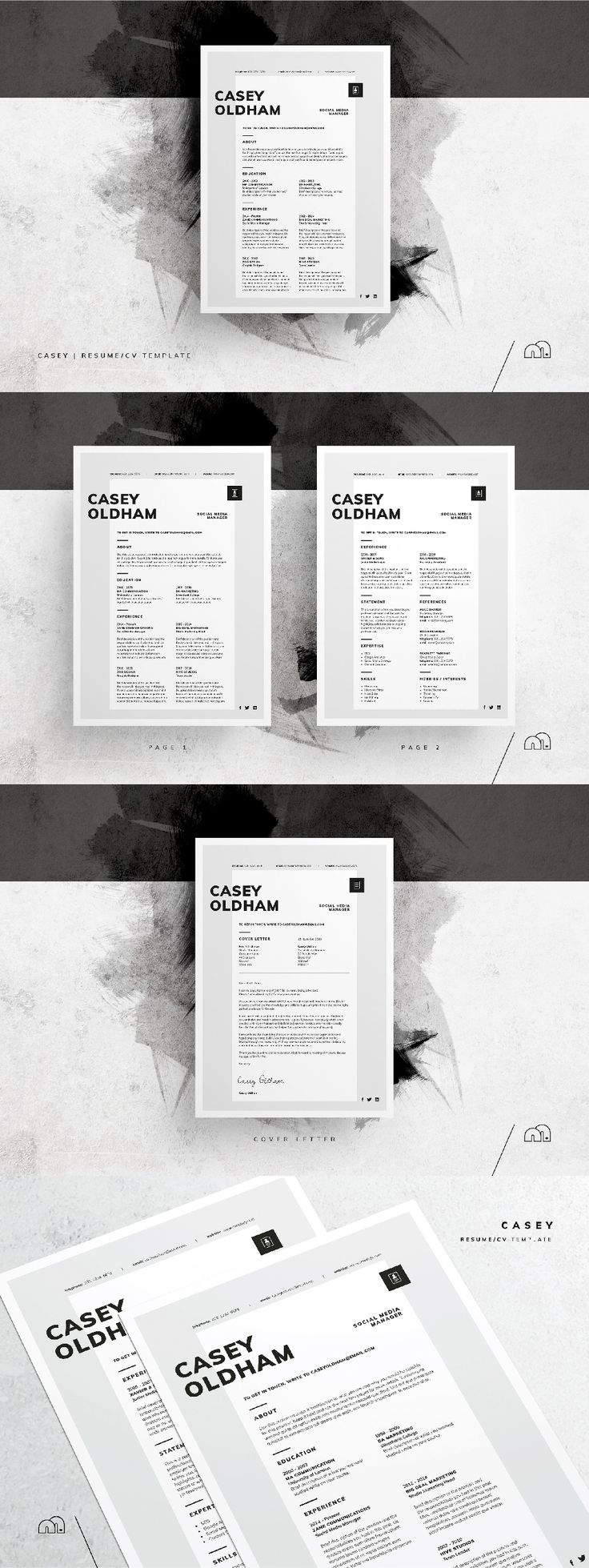 Resume / CV Template - Casey For those looking for a professional template, 'Casey' offers a unique 2-page minimal​ design, plus matching cover letter (including sample letter). #resume #cv #template