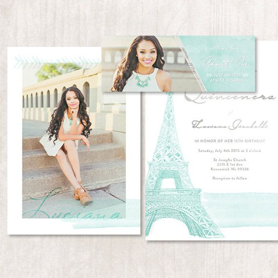 $10 Paris, Parisian, French, Eiffel Tower themed Quinceanera Invitation can also be used as a Save the Date or Wedding Invitation by modifying wording. Includes an event ticket that be used with the flat invitation or by itself as the invite. Template created by ModernPhotographer