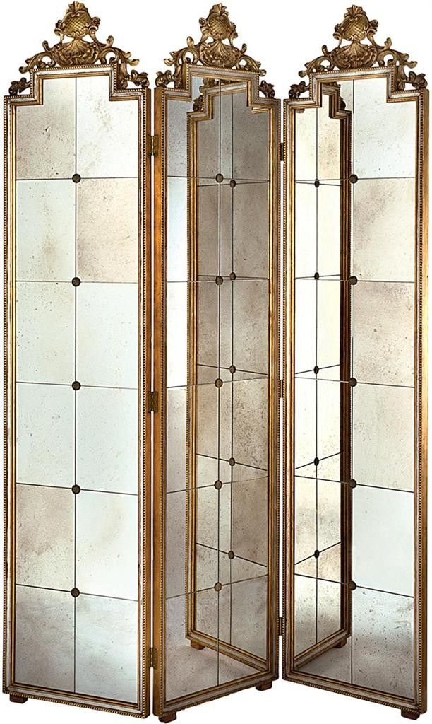 "This lovely room screen features antiqued mirrored panels with gold accents. The screen measures 60""W X 86""H. Click on image for greater detail.        This item ships via motor freight. Freight charg"