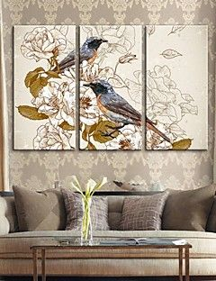 Stretched Canvas Art Retro Decorative Painting Flowers And B... – AUD $ 160.15