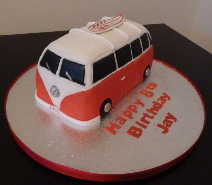 There's something very iconic about VW Camper Vans, so a cake in that shape is instantly recognizable.   VW camper and surf board cake