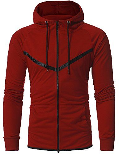 789411df Men's Long Sleeve Zip Hoodie Fashion Sport Lightweight Sweatshirt Active  Jackets(Wine red,Small) -- You can get additional details at the image link.
