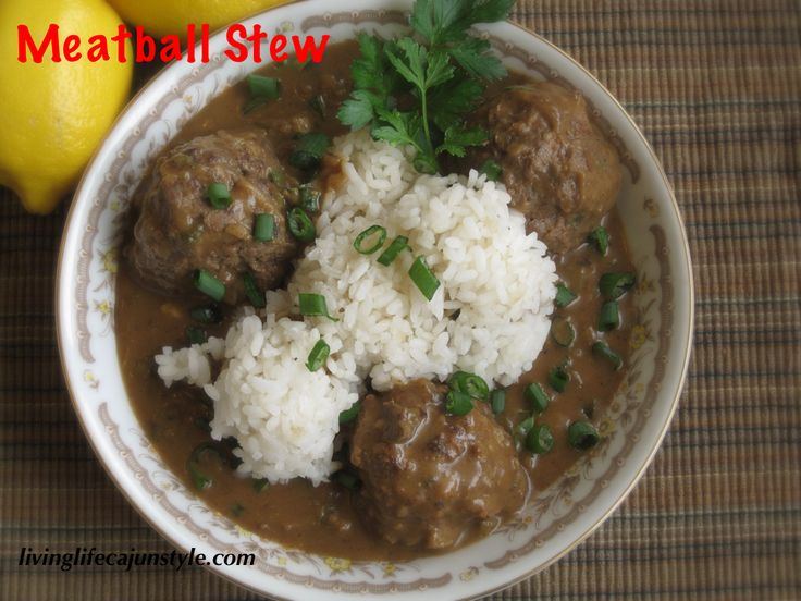Cajun meatball stew recipe with detailed pictures.