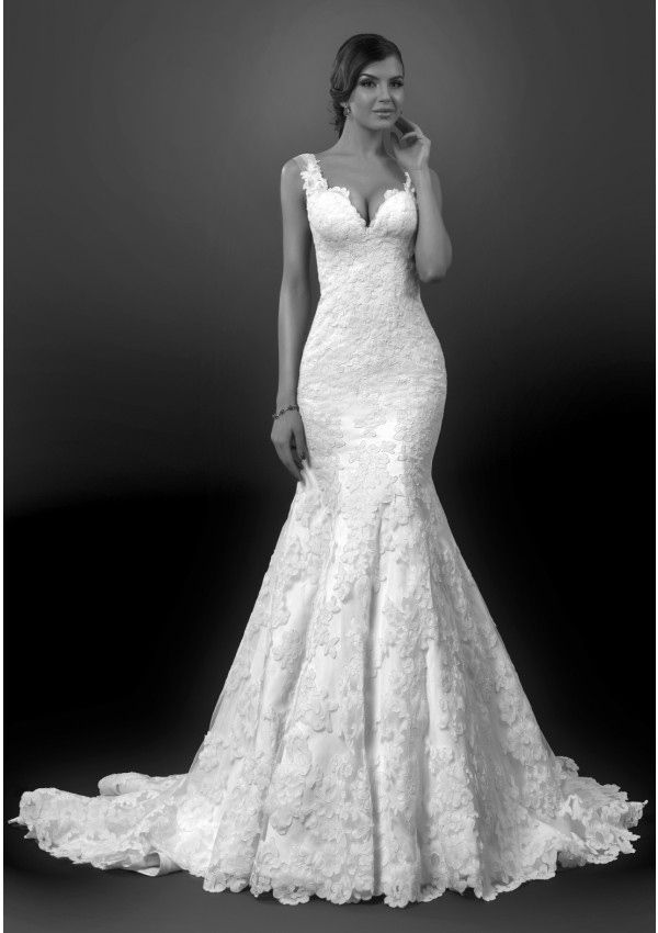 Fancy Gignified Trumpet Mermaid Vneck Sleeveless Lace Chapel Train Lace Satin Tulle Wedding dresses