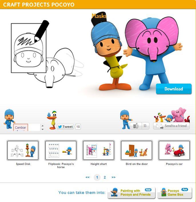 ¡¡Disfruta con Pocoyó y crea tu PROPIA MÁSCARA!!  DIY http://www.pocoyo.com/manualidades/mascaras-para-pintar