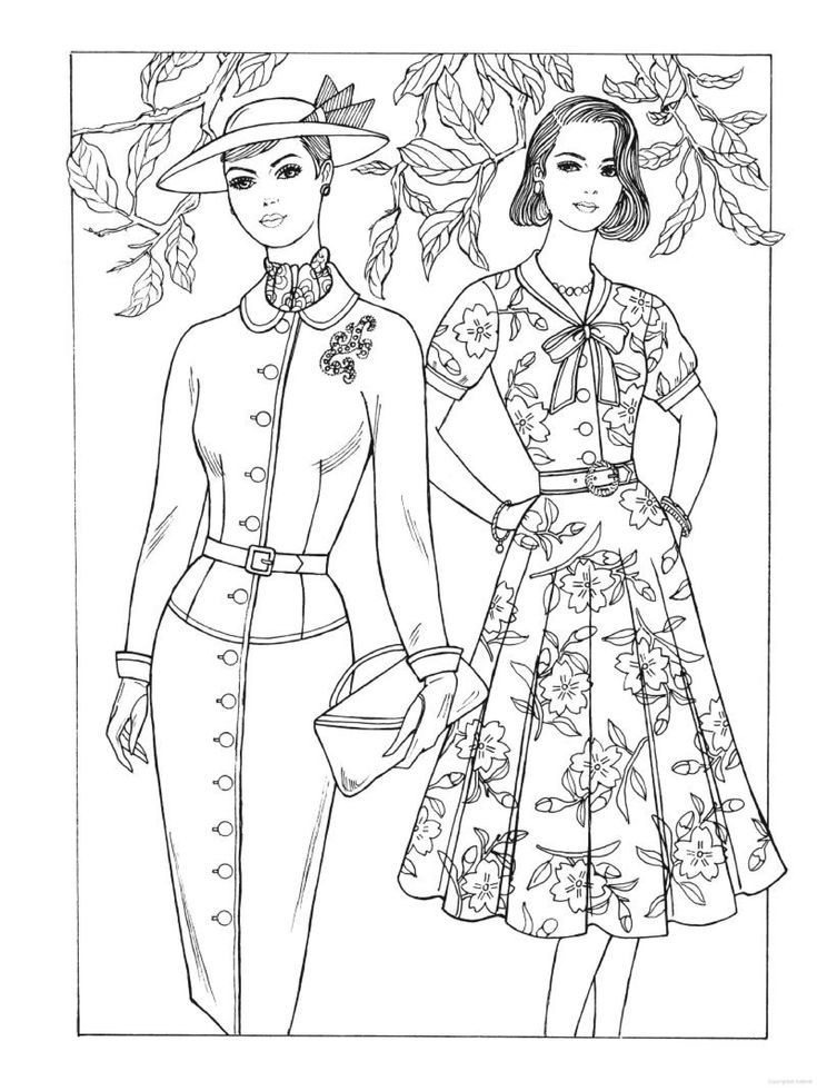 Vintage coloring pages 1950s ~ 37 best Historical Fashion Coloring Pages images on Pinterest