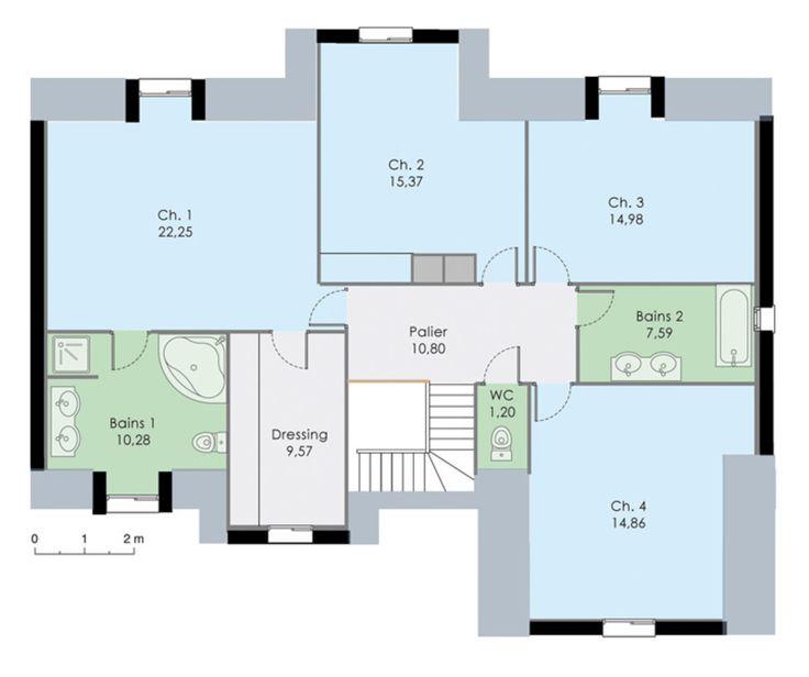 63 best Plans maison images on Pinterest Home ideas, Floor plans - plan maison plain pied 200m2