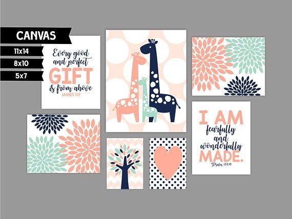 Nursery canvas art prints Giraffe James 1 17 Psalm 139 14