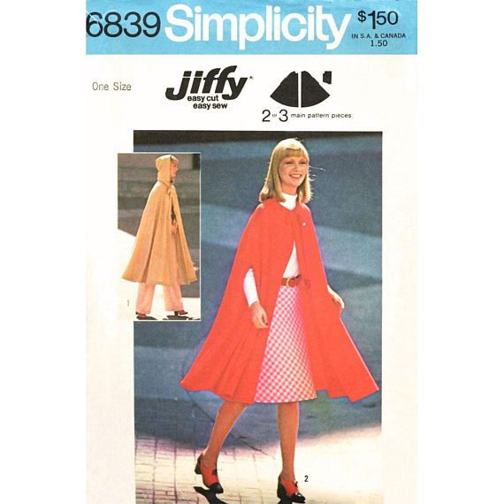 Hooded Cape Pattern Simplicity 6839 Unlined Cape Long Cloak Arm Openings Womens Vintage Sewing Pattern One Size