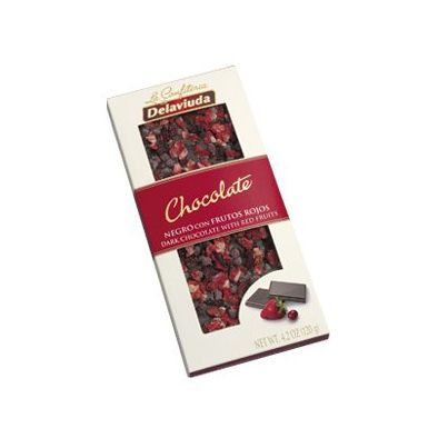 Delaviuda - Tableta de Chocolate Negro con Frutos Rojos  La perfecta combinación del chocolate negro junto con la fresa y el arándano, hacen de esta tableta una tentación irresistible al paladar. Un producto único y diferente, porque gracias a su ventana podemos apreciar la calidad de sus ingredientes. Descubre toda la nuestra gama de tabletas de chocolate en www.delaviuda.com ¡Irresistibles!