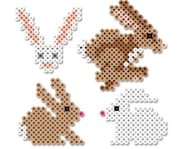 Perler Beads Bunnies #easter #bunny #craft