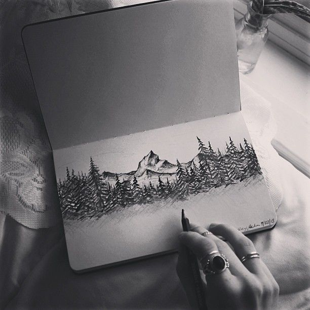 Mountains by @Alex Behn on Instagram   #mountains #art #drawing