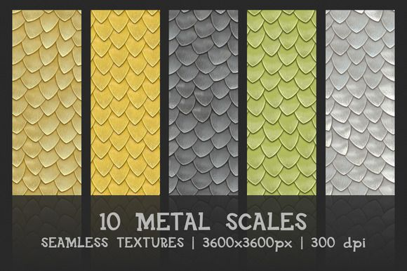Metal scales seamless textures by GivArt on @creativemarket