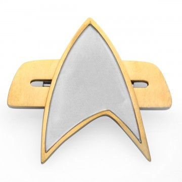 Star Trek Stainless Steel & Yellow IP Horizontal Star Fleet Pin. Show you're a fan of all Star Trek series with the Star Trek Stainless Steel & Yellow IP Horizontal Star Fleet Pin. The gold and silver colored pin resembles the communicator pin seen in Star Trek Generations, Voyager, DS9, and ST:FC. Add this pin to your collection and show your allegiance and impeccable taste. Made Of: Stainless Steel & Iron Phosphate. $38