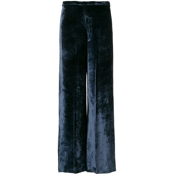Forte Forte velvet flared trousers ($784) ❤ liked on Polyvore featuring pants, blue, flare trousers, forte forte, flared trousers, blue trousers and flare pants