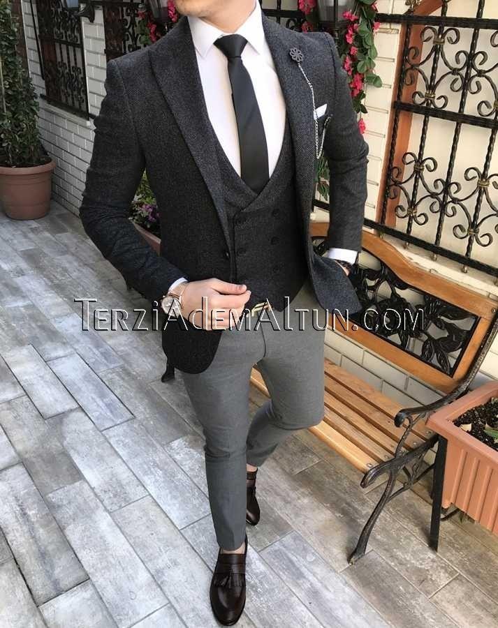 4611d1deb498b İtalyan stil erkek ceket yelek pantolon siyah kombin takım elbise T2341
