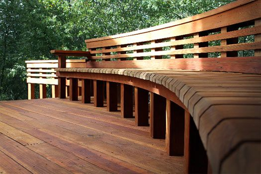 17 images about deck railing on pinterest deck benches for Redwood deck plans