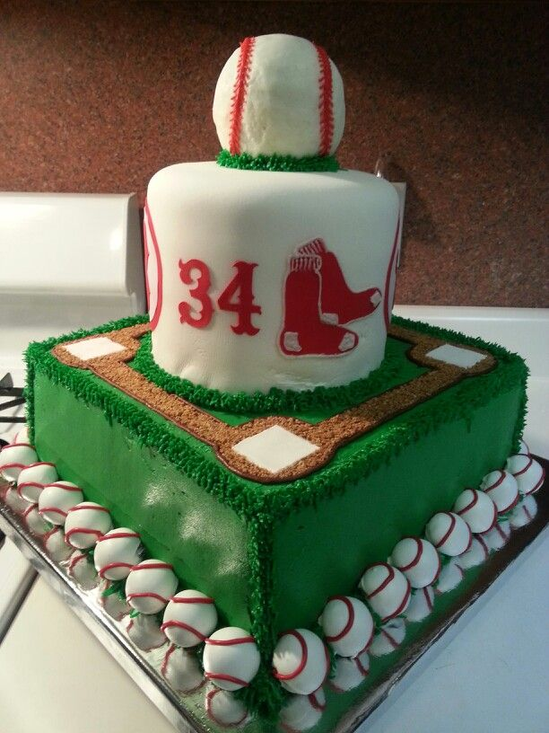Red Sox cake for a friends 70th birthday party. Huge David Ortiz fan, #34.