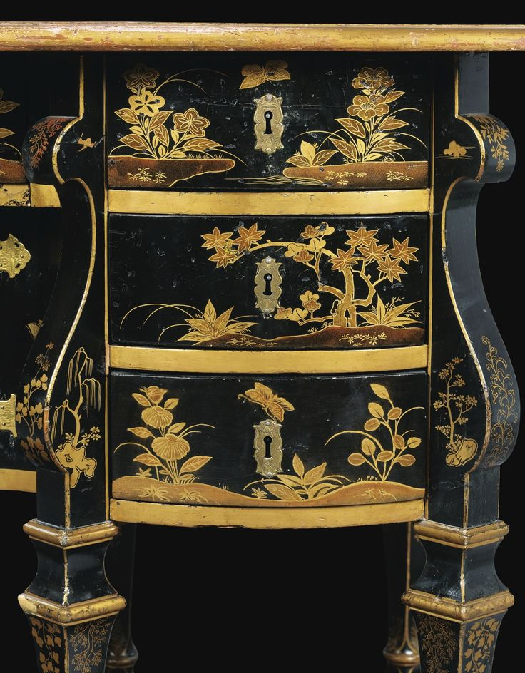 A PARISIAN LACQUER BUREAU MAZARIN, LOUIS XIV, CIRCA 1680 1690 Darkfield And  Gold Décor In Imitation Of Lacquer Of China And Japan, The Rectangular Top  ...