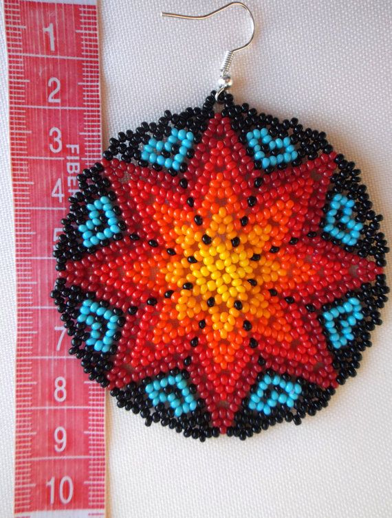 Huichol Beaded Star earrings by Aramara on Etsy