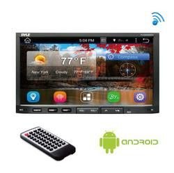 Double DIN Android Headunit Stereo Receiver, Tablet-Style Functionality, 7'' Touchscreen Display, Wi-Fi Web Browsing & App Download, GPS Navigation, Bluetooth Wireless Streaming, HD 1080p Support, Device Mirroring Ability, AM/FM Radio