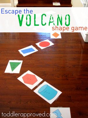 Escape the Volcano Shape Game - target skills: color recognition, shape names, counting, singing, gross motor skills, using a full sentence, answering simple questions, and following directions. #preschool #efl #education (pinned by Super Simple Songs)