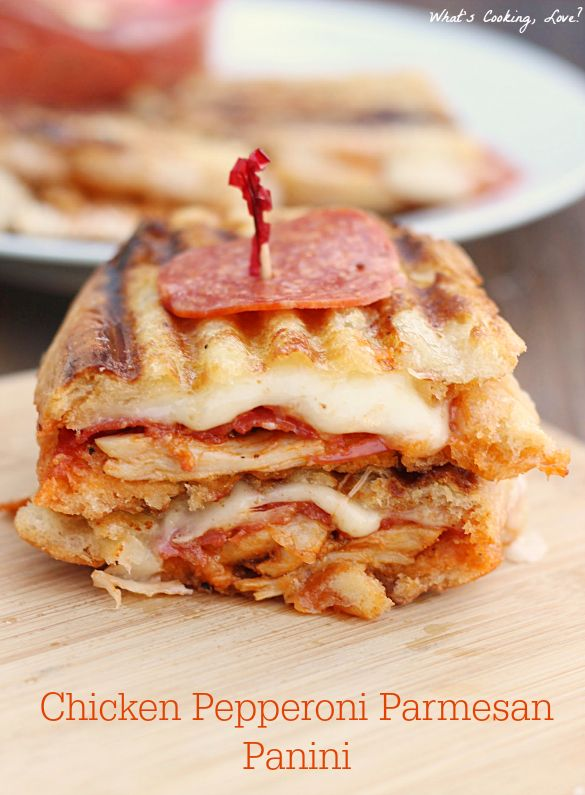 Chicken Pepperoni Parmesan Panini. A delicious and easy chicken parmesan panini with the added flavor of pepperoni. #PepItUp
