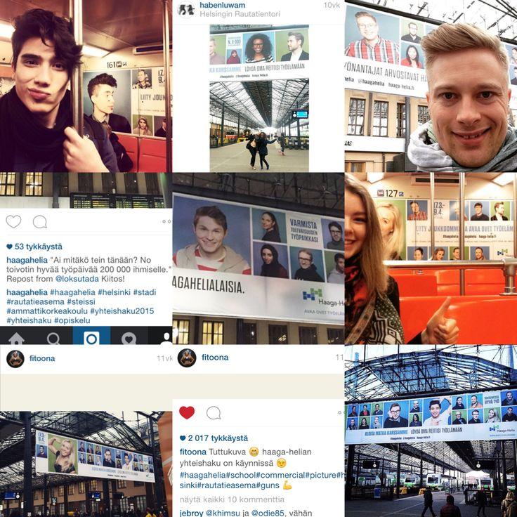 Haaga-Helian kampanja: Helsingin rautatieaseman neljä suurta banderollia edesauttoivat someilmiön syntymisessä. Kuvissa esiintyvät henkilöt kuvasivat itseään ahkerasti banderollien edessä ja jakoivat kuvia sosiaalisessa mediassa. Haaga-Helia jakoi kuvia myös edelleen omissa somekanavissaan (nämä kuvat ovat Instagramista). Kampanja levisi somessa uuteen ulottuvuuteen ja sai rutkasti lisää vaikuttavuutta.