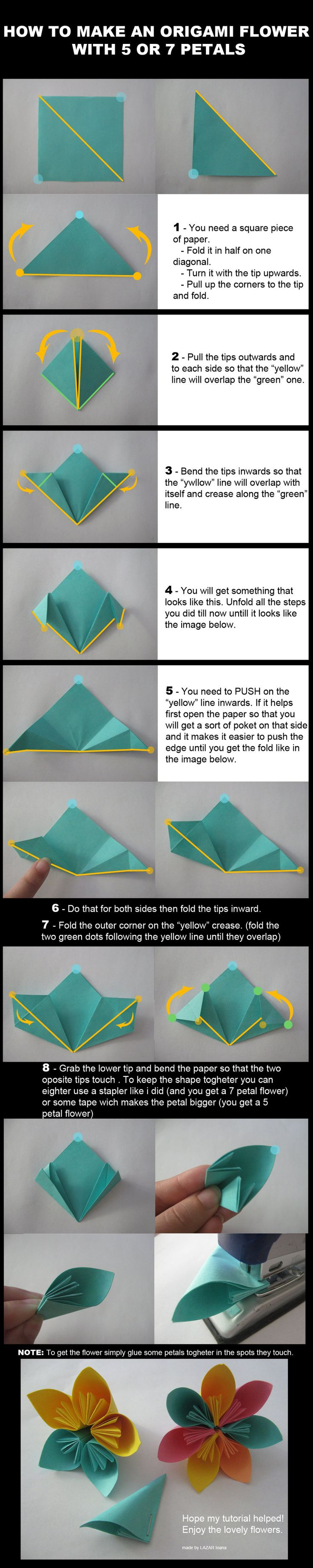 Origami Flower Tutorial by ~DarkUmah on deviantART - Tried it! its real easy :)