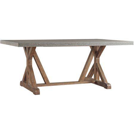 Camilla Farmhouse Concrete   Topped Trestle Dining Table   Vintage Pine    Inspire Q