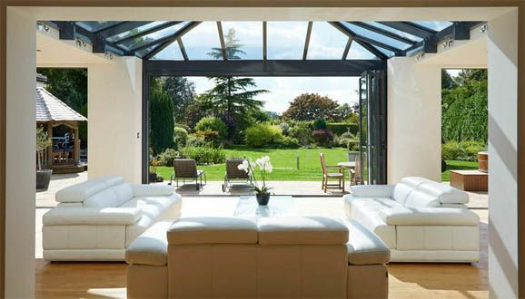 view to the garden from living room orangery