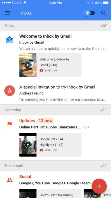 Hands On With Google Inbox: Useful Email Triage Tools For A Mobile Workflow | TechCrunch