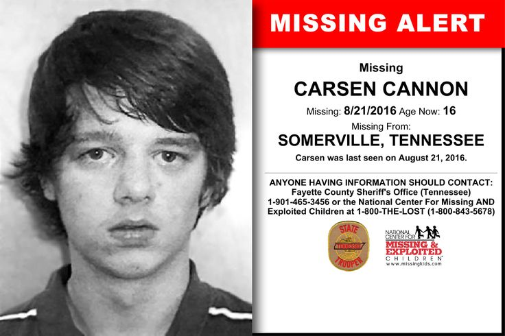 CARSEN CANNON, Age Now: 16, Missing: 08/21/2016. Missing From SOMERVILLE, TN. ANYONE HAVING INFORMATION SHOULD CONTACT: Fayette County Sheriff's Office (Tennessee) 1-901-465-3456.