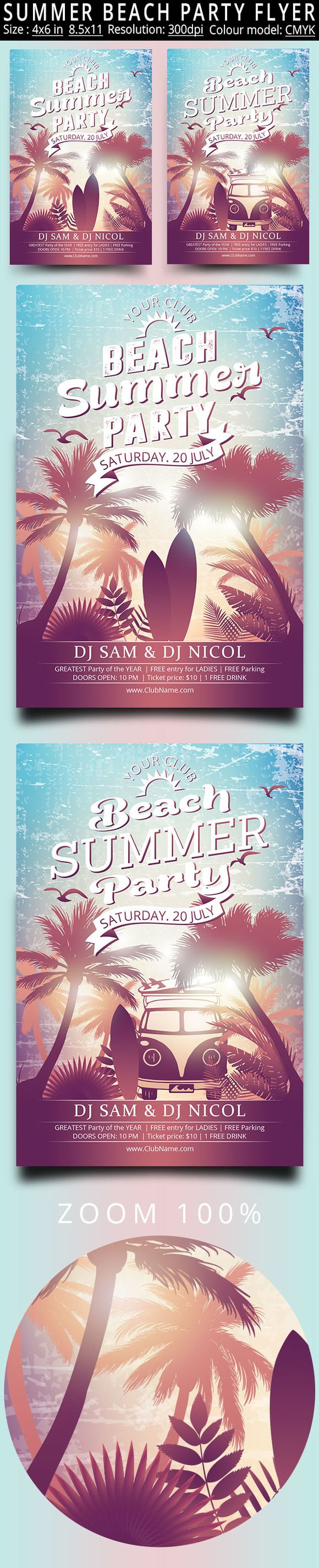 Summer Beach Party Vintage Flyer by oloreon on @creativemarket