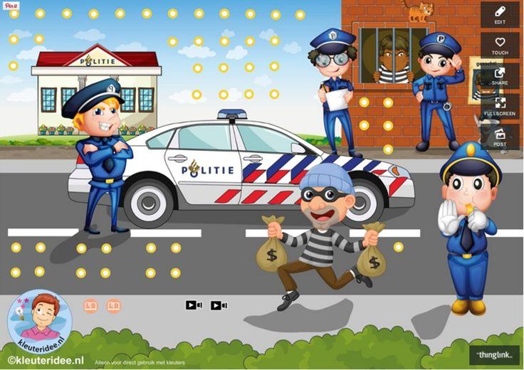 Interactieve praatplaat bij het thema 'politie', met veel educatieve video's…