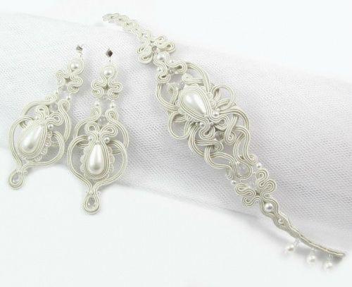Biżuteria ślubna sutasz w kolorze ivory z perłami seashel. www.pillowdesign.pl