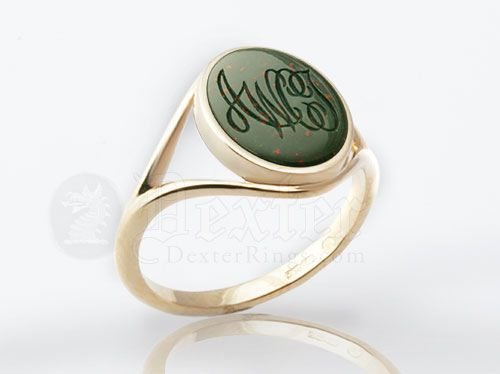 Monogramed Ladies 'Elegance' Bloodstone Signet Ring - Script / Traditional