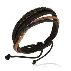 Bracelet homme Zense tendance mode en cuir et avec cordes multi-couleurs et ajustable. Matière : cuir. Longueur :18 cm à 24 cm (ajustable). Poids : 5 g. Référence : ZB0065.