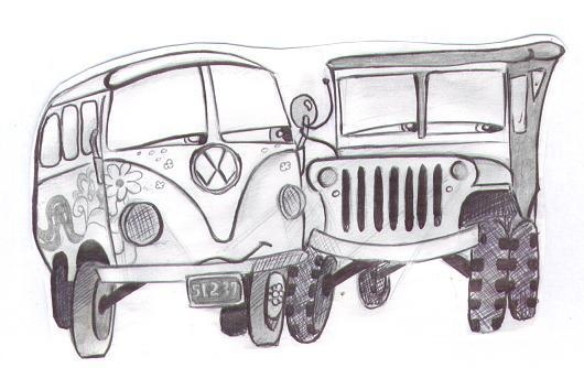 Nice pencil sketch of Sarge and Fillmore