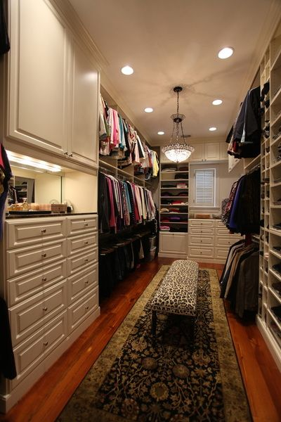 Long walk-in closet with custom designed features. | Ultimate Closet Systems…